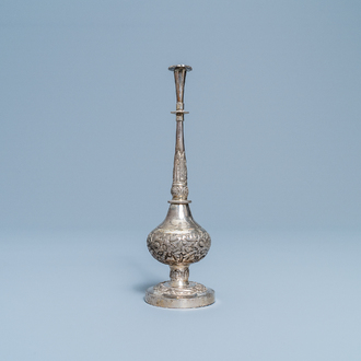A Chinese inscribed Islamic market silver rosewater sprinkler, 18th C.