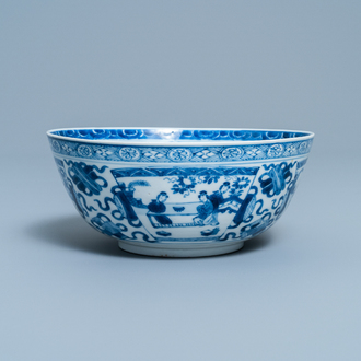 A Chinese blue and white bowl with figurative panels, Kangxi
