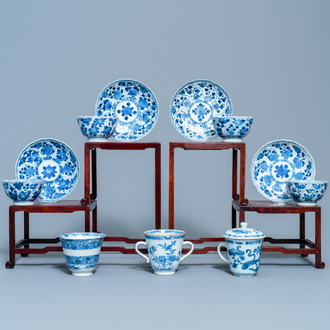 Four Chinese blue and white cups and saucers and three large cups, Kangxi/Qianlong