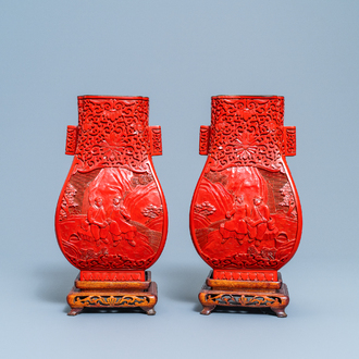 A pair of Chinese cinnabar lacquer 'Cultural Revolution' vases, 20th C.