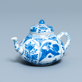 A Chinese blue and white soft paste teapot and cover, Kangxi