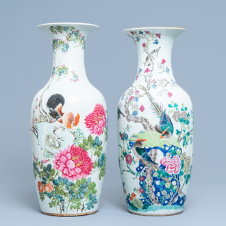 Two Chinese famille rose and qianjiang cai vases with birds, 19th C.