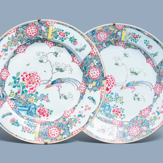 A pair of massive Chinese famille rose chargers, Yongzheng