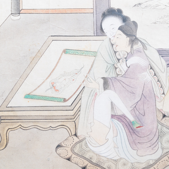 Chinese school, ink and colour on paper, 19th C.: 'Erotical scene'