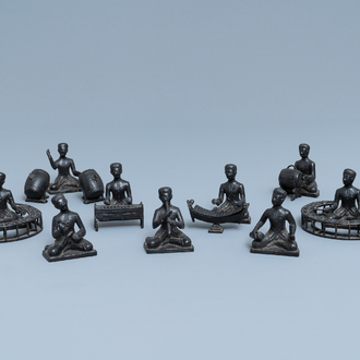 A collection of bronze miniature figures of musicians, India or Indonesia, 19/20th C.