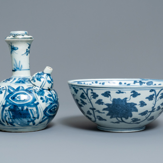 A Chinese blue and white kendi and a 'lotus scroll' bowl, Ming