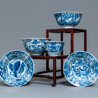 Five Chinese blue and white bowls, Wanli