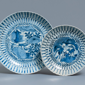 Two Chinese blue and white kraak porcelain dishes with deer and a grasshopper, Wanli