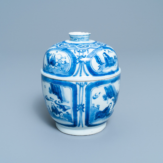 A Chinese blue and white bowl and cover with figurative medallions, Wanli