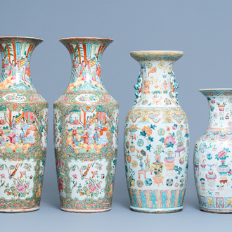 A pair of Chinese Canton famille rose vases and two single vases, 19th C.