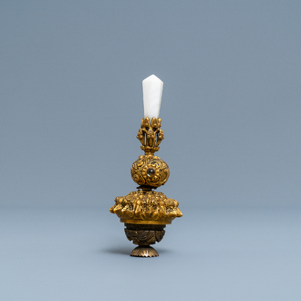 A Chinese agate and crystal-embellished gilt bronze Mandarin hat finial, 18th C.