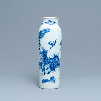 A Chinese blue and white 'qiling and phoenix' sleeve vase, Transitional period