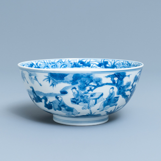A Chinese blue and white 'scholars and attendants' bowl, Kangxi mark and of the period
