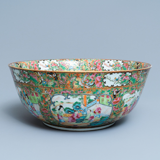A large Chinese Canton famille rose monogrammed bowl, 19th C.