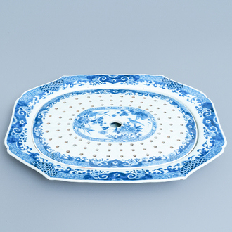 A Chinese blue and white fish strainer on stand, Qianlong