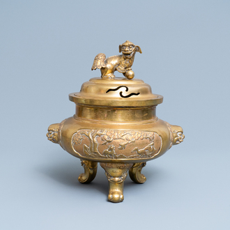 A large Chinese bronze tripod censer, 19/20th C.