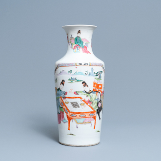A Chinese famille rose vase with ladies playing go, Yongzheng