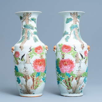 A pair of Chinese qianjiang cai 'crane and lotus flowers' vases, 19/20th C.