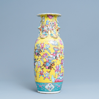 A Chinese yellow-ground famille rose 'warrior' vase, 19th C.