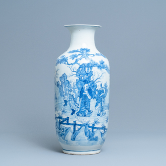 A Chinese blue and white vase with a narrative scene, Kangxi mark, 19th C.