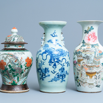 Three Chinese vases in qianjiang cai, celadon-ground and Nanking crackle-glazed porcelain, 19/20th C.