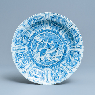 A fine Chinese blue and white kraak porcelain dish with deer, Wanli
