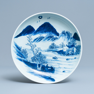 A Chinese blue and white charger with a fisherman on the shore, Yongzheng