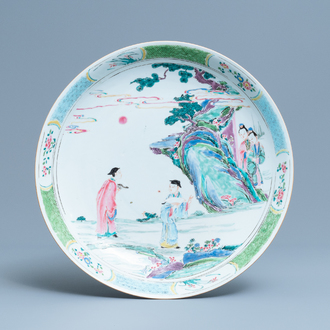 A Chinese famille rose charger with figures in a landscape, Yongzheng