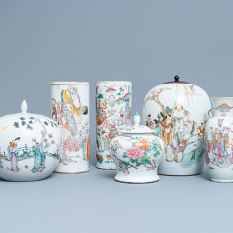 Six various Chinese famille rose and qianjiang cai vases, 19/20th C.