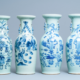 Four Chinese blue and white celadon-ground vases, 19th C.