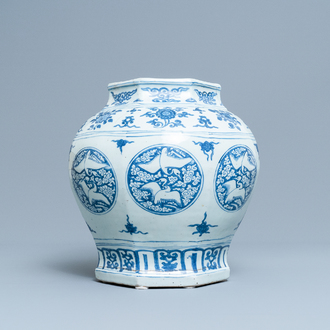A Chinese blue and white 'cranes' vase, Jiajing