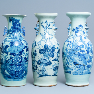Three Chinese blue and white celadon-ground vases, 19th C.