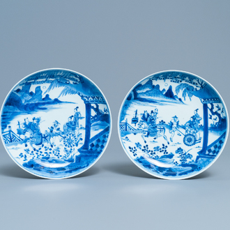 A pair of Chinese blue and white plates with a narrative scene, Kangxi/Yongzheng