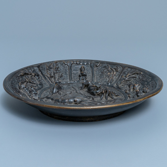 A Chinese lacquered bronze brush washer with sea animals, Xuande mark and dated 1428