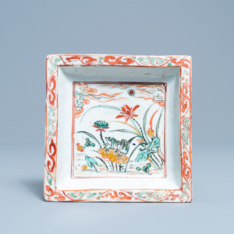 A Chinese wucai ko-sometsuke square tray with a frog, Tianqi