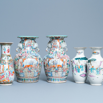 Five Chinese famille rose vases, 19th C.
