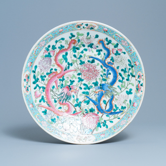 A very large Chinese famille rose 'dragon' dish, 19th C.