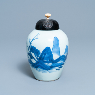 A Chinese blue and white 'landscape' jar, Transitional period
