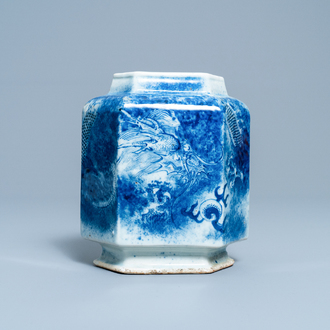A Chinese hexagonal blue and white 'dragon' vase, 19th C.