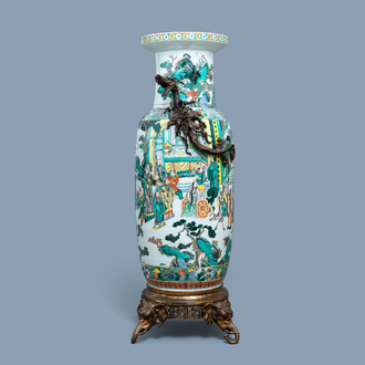 A large gilt bronze-mounted Chinese famille verte rouleau vase, 19th C.