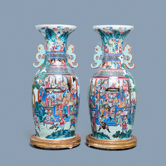 A pair of large Chinese famille rose 'Wu Shuang Pu' vases, 19th C.