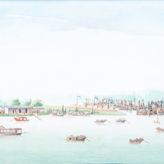 Anglo-Chinese school, Canton, oil on canvas, 18th C.: 'A view on Whampoa Bay'