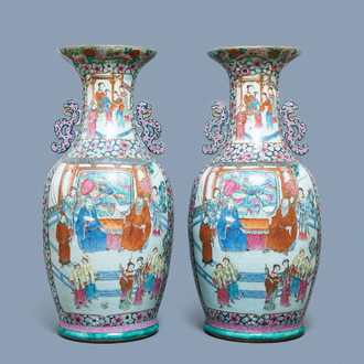 A pair of large Chinese famille rose 'court scene' vases, 19th C.