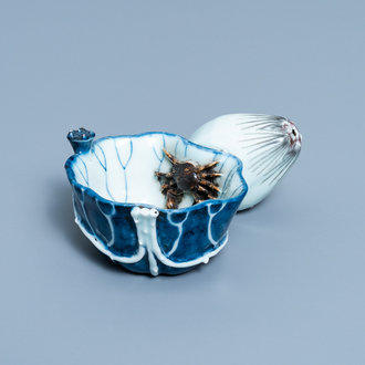 A Chinese blue, white and copper red 'crab in lotus' water dropper, Kangxi