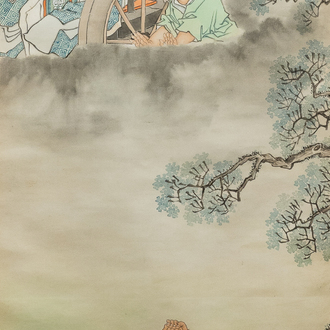 Qian Huian (1833-1911), ink and colour on paper, 19th C.: 'Fugui shoukao, after Wen Anguo'