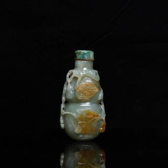 A Chinese gourd-shaped celadon and russet jade snuff bottle, Qing