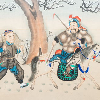 Chinese school, ink and colour on paper, 19/20th C.: 'Two equestrian hunting scenes'