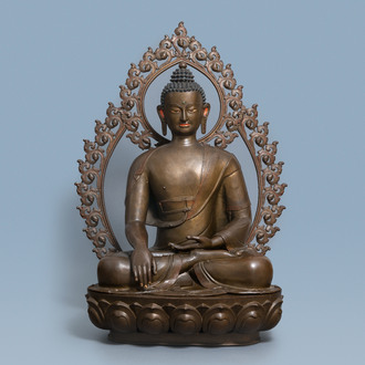 An exceptionally large bronze figure of Buddha, Nepal, 18th C.