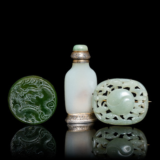 A Chinese white jade snuff bottle and two green jade carvings, 17th C. and later