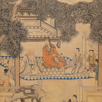 Chinese school, ink and colour on silk, 18/19th C.: 'Figures in a landscape'
